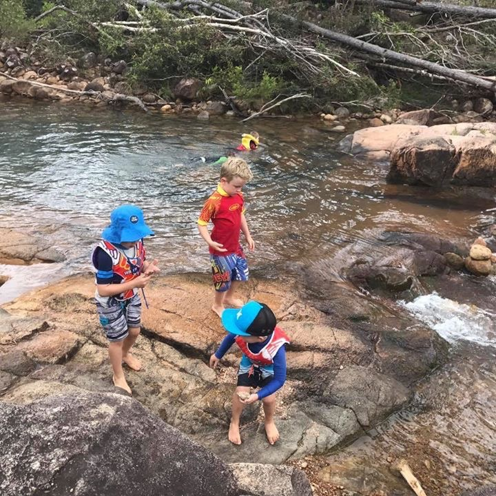 Six little boys and one bubba loved the rock pools of Stony Creek, Byfield, QLD